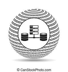 globo, binario, concepto, datos, sistema