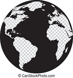 globo, blanco, negro, continentes, transparencia