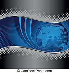 globo blu, con, argento, metallo, bordo