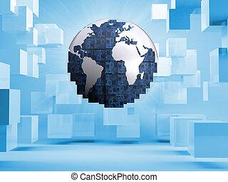 globo blu, cubi, fondo, digitale