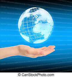 globo blu, sfondo digitale, mano