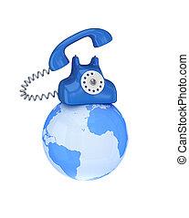 globo blu, telefono, retro
