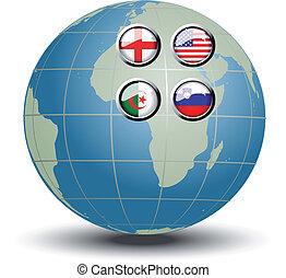 globo blu, vettore, bandiere