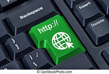 globo, botón, verde, internet, concept., icono