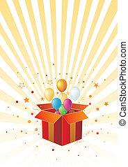globo, caja, regalo