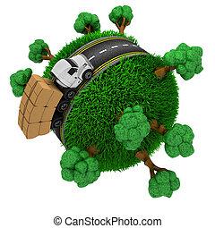 globo, camión, alrededor, camino, herboso
