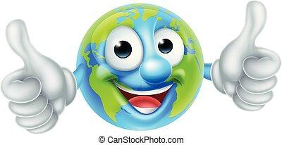 globo, carattere, cartone animato, mondo, giorno terra