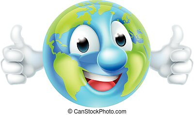 globo, carattere, su, cartone animato, pollici, mondo, giorno terra