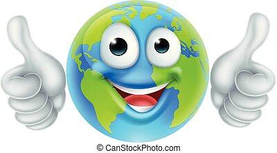 globo, carattere, su, giorno, pollici, terra, cartone animato, mascotte