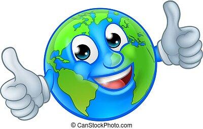 globo, carattere, terra, mondo, cartone animato, mascotte