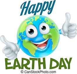 globo, caricatura, desenho, terra, mascote, dia, feliz