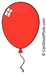 globo, caricatura, rojo