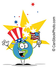 globo, chapéu, americano, patriótico