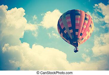 globo, cielo, aire caliente