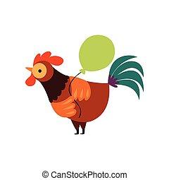 globo, colorido, granja, carácter, ilustración, gallo, ...