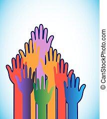 globo, colorido, levantar, manos