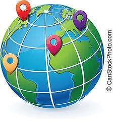 globo, com, localização, ponteiros