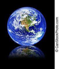 globo, com, reflexão, ligado, pretas