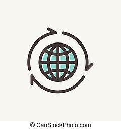 globo, com, seta, ao redor, linha magra, ícone
