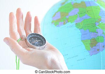 globo, compasso, áfrica, segurando mão