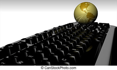 globo, computadora, 3d, teclado