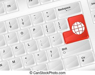 globo, computadora, símbolo, teclado