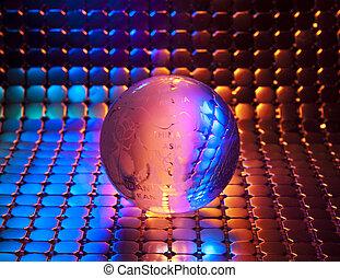 globo, con, alta tecnología, plano de fondo