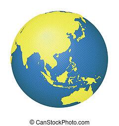 globo, con, asia, e, australia