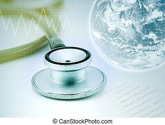 globo, con, estetoscopio, plano de fondo, atención sanitaria, concepto