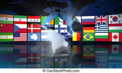 globo, con, mondo, bandiere