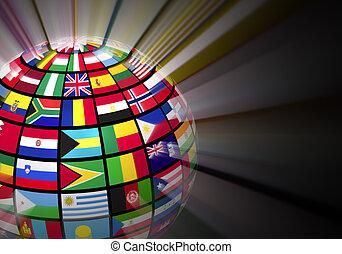 globo, con, mundo, banderas