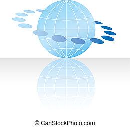 globo, concepto, icono, internet de la tela