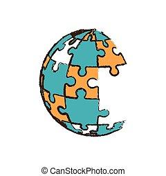 globo, confondere pezzi, immagine
