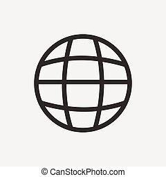 globo, contorno, icona