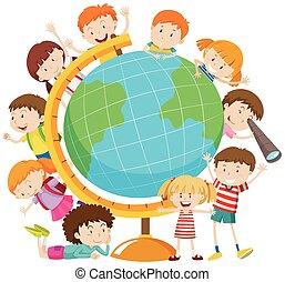 globo, crianças, ao redor