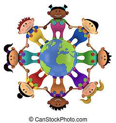 globo, crianças, multiethnic, ao redor