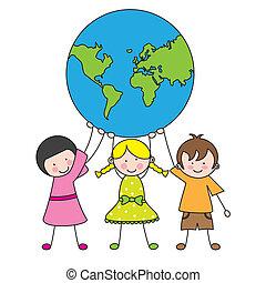 globo, crianças, segurando