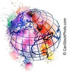globo, cubierto, con, colorido, grunge, salpicaduras