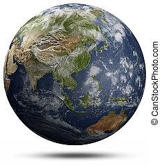 globo de la tierra, -, asia, y, oceanía