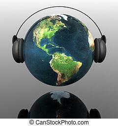 globo de la tierra, auriculares, música
