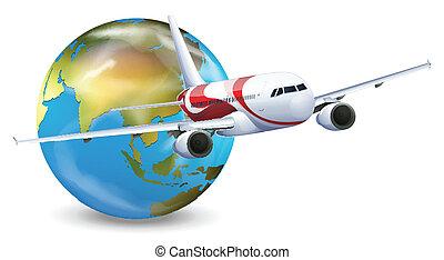 globo de la tierra, avión