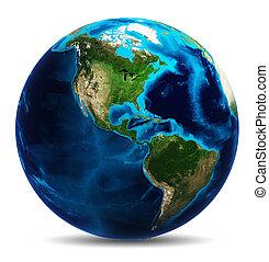 globo de la tierra, blanco, aislado