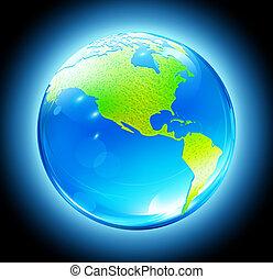 globo de la tierra, brillante, mapa