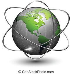 globo de la tierra, con, órbitas