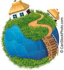 globo de la tierra, con, casas