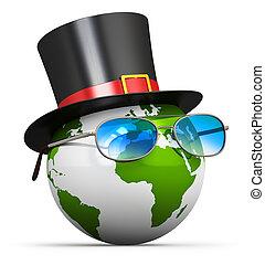globo de la tierra, con, cilindro, sombrero, y, lentes