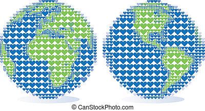 globo de la tierra, con, patrón del corazón