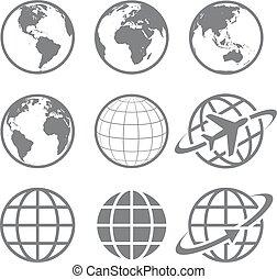 globo de la tierra, conjunto, icono