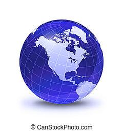 globo de la tierra, estilizado, en, azul, color, brillante,...