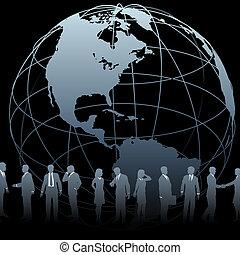 globo de la tierra, negocio global, gente